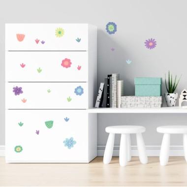 Fleurs rose - Stickers lavables