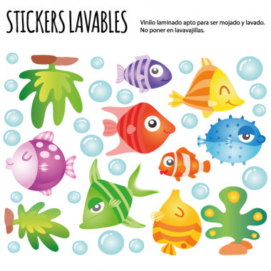 Poissons tropicaux - Stickers lavables