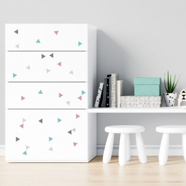 Triangles gris rose - Stickers polyvalents