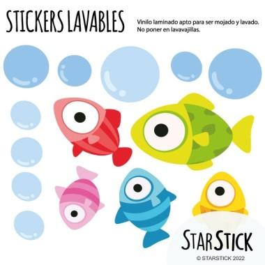 Poisson colorés - Stickers polyvalents