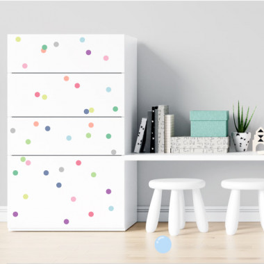 Confettis. Couleurs pastel - Stickers lavables