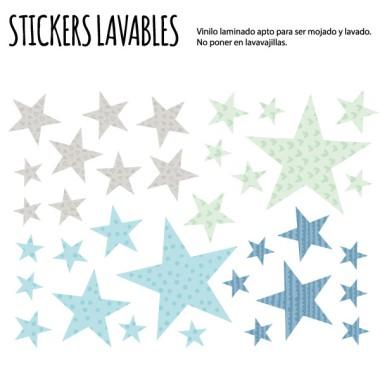 Estrellas combinación mint - Vinilos multiuso lavables