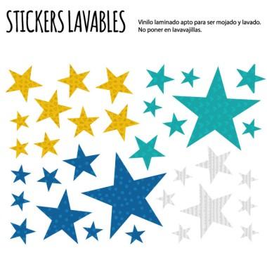 Étoiles. Combinaison moutarde - Stickers polyvalents