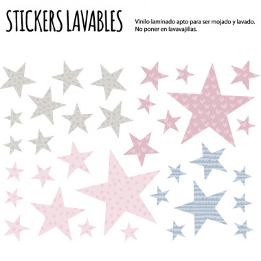 Estrellas combinación rosa gris - Vinilos multiuso lavables