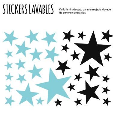 Étoiles. 2 couleurs au choix - Stickers polyvalents