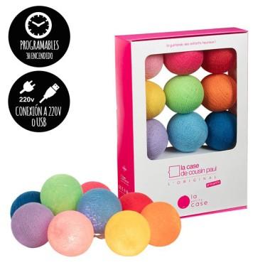 Guirlande lumineuse - 9 boules colorées