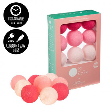 Guirlande lumineuse - 9 boules - Rose bébé