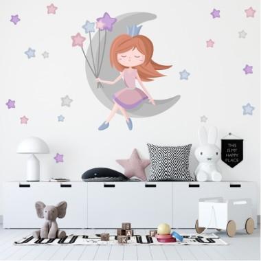 Princesse sur la lune - Stickers décoratifs pour enfants