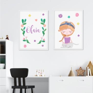 Pack de 2 láminas decorativas - Niña coqueta con su gatito