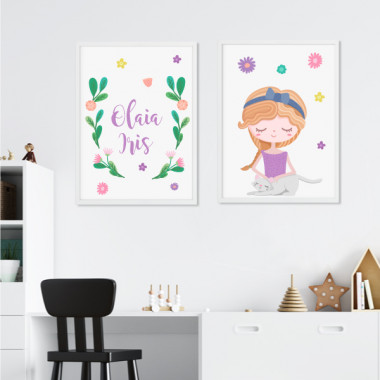Lot de 2 toiles déco - Fille avec son chaton