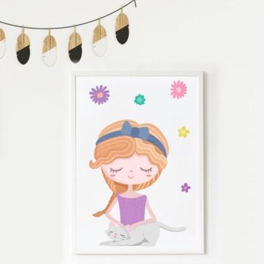 Làmina decorativa infantil - Nena coqueta amb el seu gatet