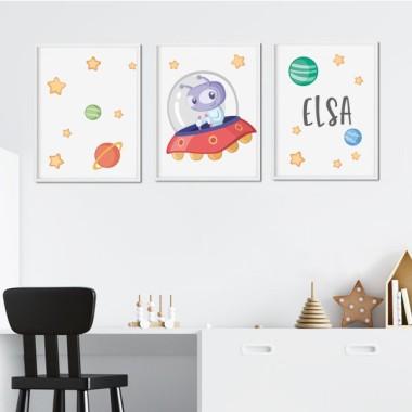 Lot de 3 affiche  pour enfants - Extraterrestre