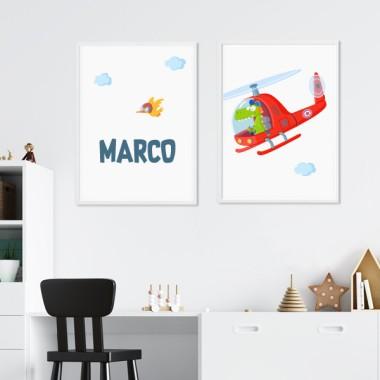 Pack de 2 láminas decorativas - Helicóptero con cocodrilo