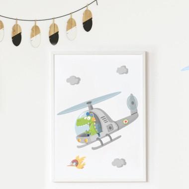 Toiles déco enfant - Hélicoptère avec crocodile