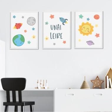 Lot de 3 affiche  pour enfants - Espace enfants - Système solaire