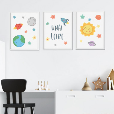 Pack de 3 làmines infantils - Espai infantil - Sistema solar
