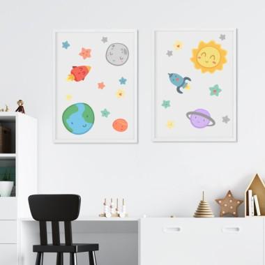 Pack de 2 láminas decorativas - Espacio infantil - Sistema solar
