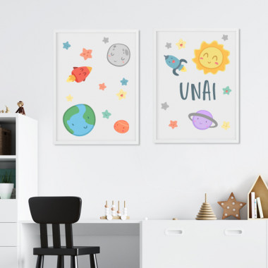 Lot de 2 toiles déco - Espace enfants - Système solaire