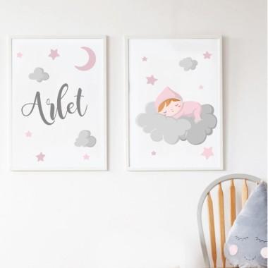 Lot de 2 toiles déco - Bébé dort sur le nuage