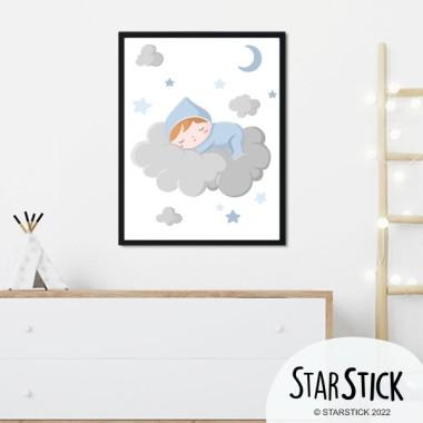 Lámina decorativa infantil - Bebé durmiendo en la nube