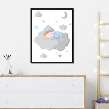 Toiles déco enfant - Bébé dort sur le nuage