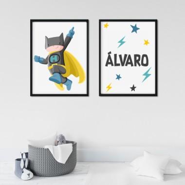 Pack de 2 láminas decorativas - Superhéroe batboy