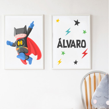 Lot de 2 toiles déco - Superhero Batboy