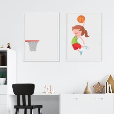 Pack de 2 làmines decoratives - Nena jugant a bàsquet