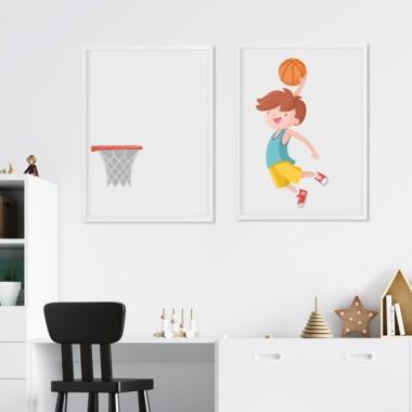 Pack de 2 láminas decorativas - Niño jugando a baloncesto