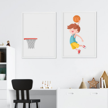 Pack de 2 làmines decoratives - Nen jugant a bàsquet
