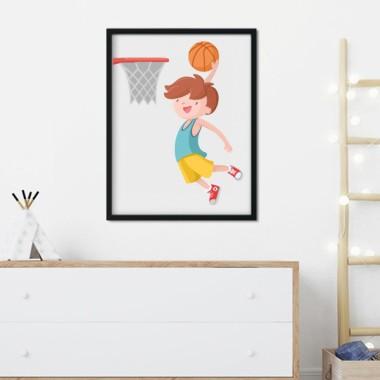 Lámina decorativa infantil - Niño jugando a baloncesto