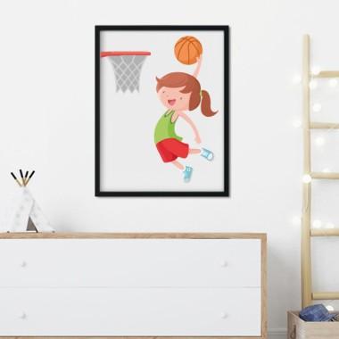 Lámina decorativa infantil - Niña jugando a baloncesto