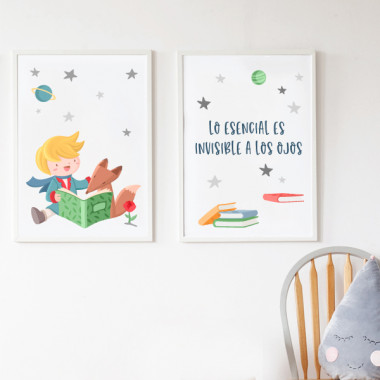 Lot de 2 toiles déco - Petit prince lecture