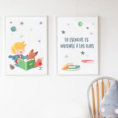 Pack de 2 láminas decorativas - Pequeño príncipe leyendo