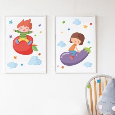 Lámina decorativa - Niños con verduras