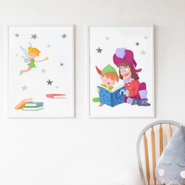 Peter Pan y Garfio leyendo - Lámina decorativa para colegios y bibliotecas