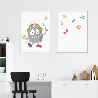 Pack de 2 láminas decorativas - Music Monster