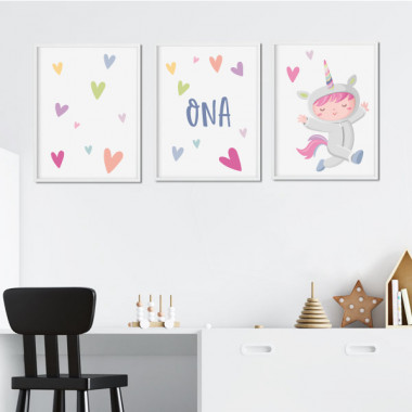 Pack de 3 làmines infantils - Nena disfressada d'unicorn