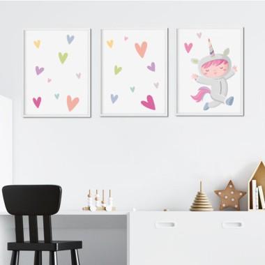 Pack de 3 láminas infantiles - Niña disfrazada de unicornio