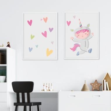 Lot de 2 toiles déco - Fille déguisée en licorne