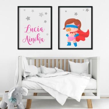 Lot de 2 toiles déco - Superhero baby - Fille