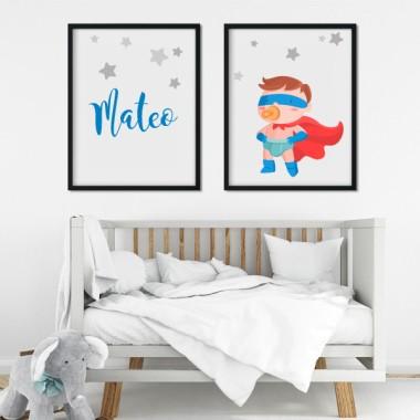Pack de 2 láminas decorativas - El bebé superhéroe