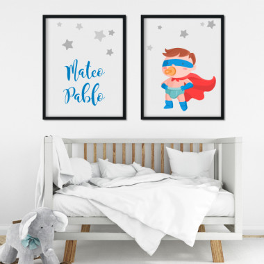Lot de 2 toiles déco - Superhero baby
