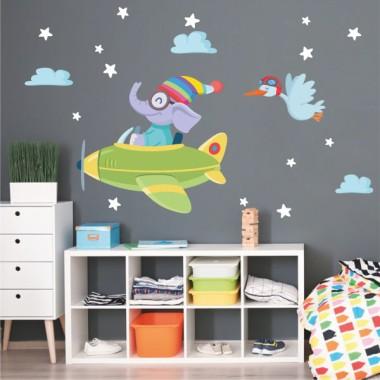 Avión con elefante - Vinilos infantiles decorativos