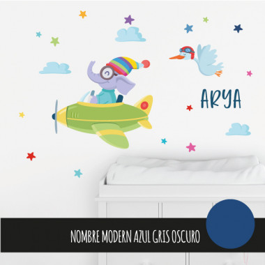 Avion avec éléphant - Stickers décoratifs pour enfants