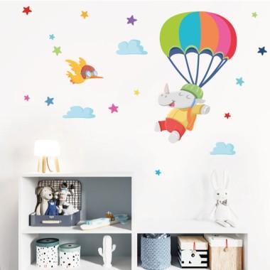 Parachute rhino - Stickers décoratifs pour enfants