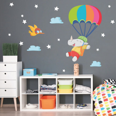 Rinoceronte paracaidista - Vinilos infantiles decorativos