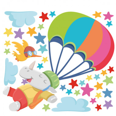 Vinilos infantiles Rinoceronte paracaidista - Vinilos infantiles para niños y niñas Vinilos infantiles Bebé Vinilo infantil para niños, niñas y bebés con unrinoceronte practicando paracaidismo. Vinilos infantiles de la marca StarStick, coloridos, originales, atrevidos y fáciles de instalar. Geniales para convertir cualquier pared infantil en un mural lleno de vida. El vinilo infantil incluye el rinoceronte, el pájaro, las nubes y las estrellas.  Medidas aproximadas del vinilo infantil montado (ancho x alto) Básico: 70x45 cm Pequeño:120x70 cm Mediano:150x100 cm Grande: 200x150 cm Gigante:270x170 cm  AÑADE UN NOMBRE AL VINILO DESDE 9,99€ vinilos infantiles y bebé Starstick