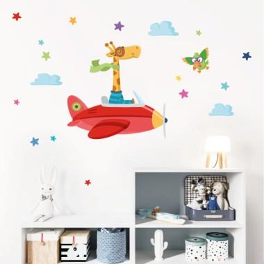 La jirafa va en avión - Vinilos infantiles decorativos