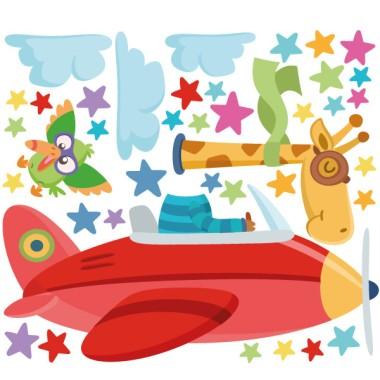 Vinilos infantiles La jirafa va en avión - Vinilos infantiles para niños y niñas Vinilos infantiles Bebé Vinilo infantil de pared para niños y niñas con una jirafa viajando en avión. Vinilos para niños de la marca StarStick, coloridos, originales, atrevidos y fáciles de instalar. Geniales para convertir cualquier pared en un mural lleno de vida. El vinilos infantil incluye el rinoceronte, el pájaro, las nubes y las estrellas. Medidas aproximadas del vinilo infantil montado (ancho x alto) Básico: 70x45 cm Pequeño:120x70 cm Mediano:150x100 cm Grande: 200x150 cm Gigante:270x170 cm  AÑADE UN NOMBRE AL VINILO DESDE 9,99€ vinilos infantiles y bebé Starstick